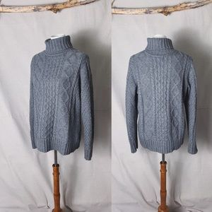 LL BEAN Cable Knit Fisherman Turtleneck Sweater